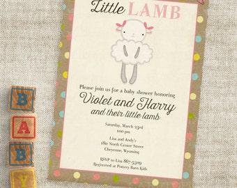 Kleines Lamm Rosa und braun Baby Shower Einladungen Baby Girl Lamm benutzerdefinierte lädt mit professioneller Druck-Option