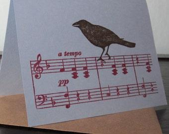 Oiseau sur la musique - carte de voeux sérigraphié Gocco