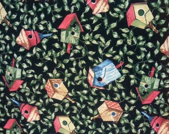 """Shamash and Sons Vintage Birds House Fabric. Quilt Fabric. 36"""" x 75"""" Sewing Supplies."""