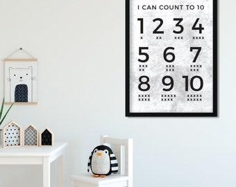 Numbers print white background | kids poster | numbers wall art |  printable | nursery decor | numbers poster | Learn numbers chart