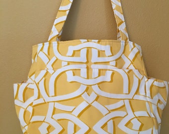 Katrina#1811, Bright Yellow and White Project Bag, Large Project Bag, Knitting Project Bag, Knitting Tote, Crochet Tote, Needlepoint Totes