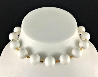 Vintage White Bead Gold Tone Choker Necklace