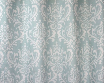 """Already made, buy now or make offer, fabric shower curtain, 72""""W x 72""""L  Premier Ozborne damask, powder blue and white cotton,"""