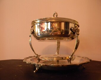 Vintage . Silverplated Chafing Dish w/Glass Dish & Tray . Magnificent