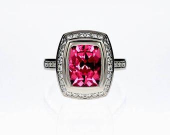 Cushion cut pink tourmaline engagement ring, diamond halo, engagement ring, pink engagement, milgrain, pave, tourmaline ring, vintage style