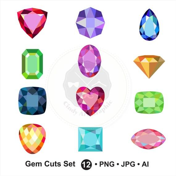 gem cuts set clipart gem clipart diamond clipart jewel clipart rh etsystudio com jewel clip art black and white jewel clip art black and white