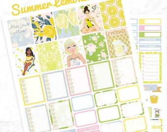 Printable planner stickers, summer stickers, use with Erin Condren, vintage, floral, Spring kit, beyonce, lemonade, glam, Tea time, southern
