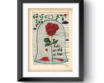 Beauty and the Beast Enchanted Rose print-Beauty and the Beast dictionary print-tale as old as time print-wedding print-NATURA PICTA-DP157