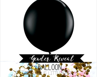 """36"""" Gender Reveal Balloon Pink and Blue, Giant Confetti Balloon, Gender Reveal Party Baby Shower, Photo Props, Its a Boy, Its a Girl, Black"""