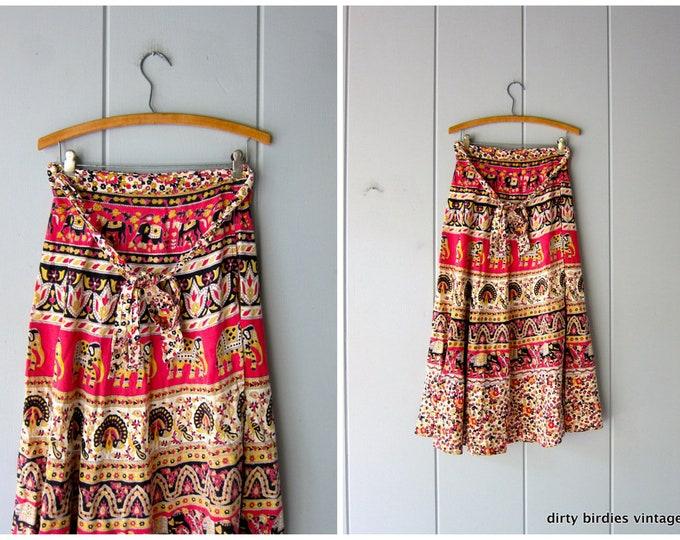 Ethnic Print Red Yellow Wrap Skirt 70s Cotton Midi Skirt High Waist Boho Hippie Spring Summer Indian India Tribal Skirt Womens FREE SIZE
