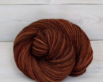 Supernova - Hand Dyed Superwash Merino Wool Worsted Yarn - Colorway: Cinnamon