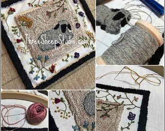 Punch Needle Pattern - Spring Lamb - #PN566 - Needlepunch Embroidery