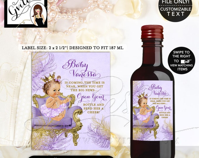 MINI Wine Labels Baby Shower, lavender and gold, the time is near, favors stickers party bottle wrappers label, digital {2x2.5 12 Per/Sheet}