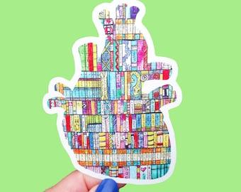 Vinyl Eye Heart Books Sticker - Book Lover, Literary Art, Bumper Decal Waterproof