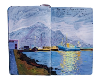 """Fine Art Print of Iceland Landscape Painting from Artist Sketchbook - """"Whaling Boat at Dawn"""""""