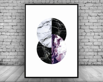 Purple;Geometric;Circle;Marble;Wall Print;Home Decor;Wall Art; Poster