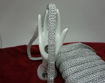 stripe Ribbon belt with silver sparkly rhinestone 1.7 cm