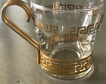 2- Greek keys coffee cups by libby glass