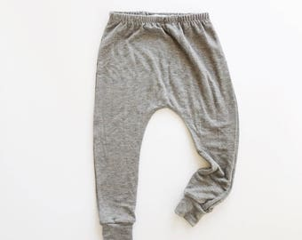 Basic Grey harems / toddler harems / hipster baby clothes / heather gray / solid