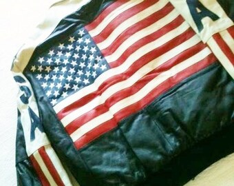 Vintage Leather Motorcycle Jacket with Stars and Stripes in Red, White, and Blue, Olives and Doves