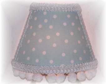 Light Blue with White Polka Dots and White Pom-Poms NIGHT LIGHT