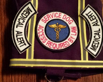 Purple Service Harness Vest Medical Alert Dog Others can be made on request