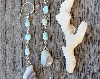 Long Dangle Earrings Boho Style / Boho Summer Earrings / Beach Dangle Earrings / Bohemian Earrings / Spring Earrings / Agate Earrings