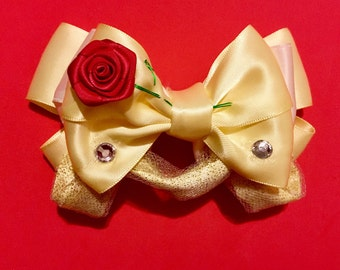 Belle Inspired Bow FREE SHIPPING Beauty and the Beast Inspired Bow Princess Belle Bow Disney Bow Disney Bows Disney Hair Bows Disneybound