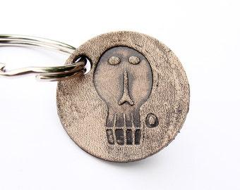 Personalized Keychain Edward Gorey Leather 1 or 2 inch
