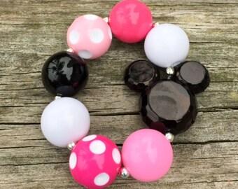 Pink Minnie Mouse Chunky Bracelet, Girls Bracelet, Chunky Jewelry, Chunky Bubblegum Necklaces, Photo Props, Chunky Necklace, Minnie Bracelet