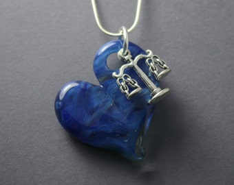 "Handmade ""Love Justice"", Scale and Hand Blown  Glass Heart Necklace"