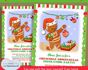 Gingerbread Party Invitation - kids Christmas Gingerbread decorating party invite -  INSTANT DOWNLOAD P-114-gingerbread - with editable text