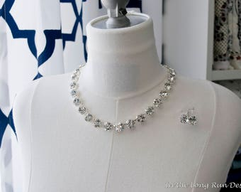 """Regency Reproduction Crystal """"Diamond"""" Collet Necklace. Optional Matching Earrings. Glass Rhinestones. Colonial, 18th Century, Historical."""