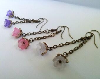 Bronze Flower Earrings , Bronze Long Earrings , Purple , Pink , White , Dangling Earrings , Lucite Flower Earrings , Boho , Handmade Jewelry