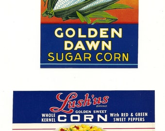 11 Old Vintage CORN / BERRIES LABELS