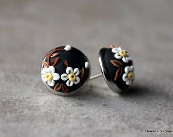 Lovely Polymer Clay Applique Statement Stud Earrings in Black and White