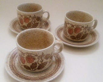 Set of 3 Churchill Pottery Homespun Stonecast Wild Strawberry cups and saucers - vintage retro 70s