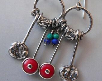 coral and lapis lazuli hoop earrings, sterling silver,  coral earrings, long earrings