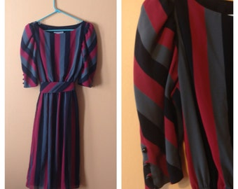 Serious Stripes Dress 1980s M/L