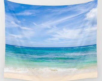 Tropical ocean and blue sky Wall Tapestry, blue sky, turquoise wave sea, wall hanging, ocean decor, grommets, 26x36, 50x59, 88x104 Inches