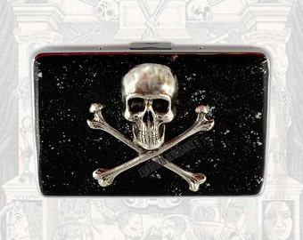 Silver Skull and Cross Bones RFID Wallet with Organizer Inlaid in Hand Painted Enamel Black with Silver Splash Credit Card Case