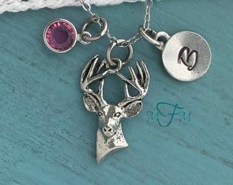 Deer Charm Necklace, Personalized Necklace, Silver Pewter Deer Head Charm, Swarovski birthstone, Animal Charm Necklace