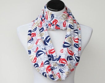 Nautical infinity scarf red blue white sailboats sailor scarf  circle scarf loop scarf gift idea for mom gift for girl