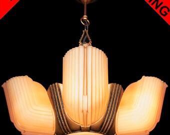 Antique Art Deco Salmon Frosted Glass 6 Light 5 Slip Shade Machine Age Chandelier Lamp Pendant Ceiling Fixture c1940s