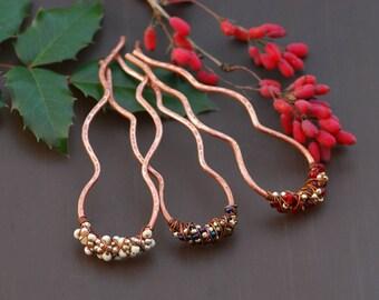 Hair sticks set of 3 rainbow white red Copper hair clip Copper hair pin Wire wrapped Hair slide  Christmas gift Ideas brass Hair fork Hair