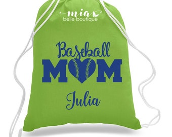 Personalized Baseball Mom drawstring bag, Custom baseball mom bag, baseball mom gift, personalized baseball mom, baseball team mom gift