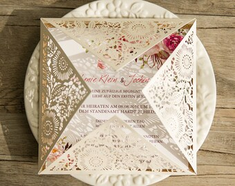 30 Rustic Spring Flower Glittery Gold Laser Cut Wedding Invitation Set: Invitation, RSVP, Direction or Accommodation, Thank You Card