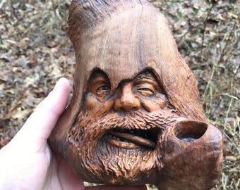 Wood Carving, Wood Spirit Carving, Pipe Smoker, Tobacco, Handmade Woodworking, Wall Art, Sculpture, OOAK, Perfect Wood Gift, Josh Carte