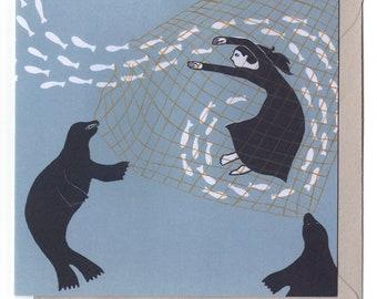 Net - blank greetings card, selkie, folklore, Scotland, escape, freedom, transformation, underwater, swimming, seal, thankyou