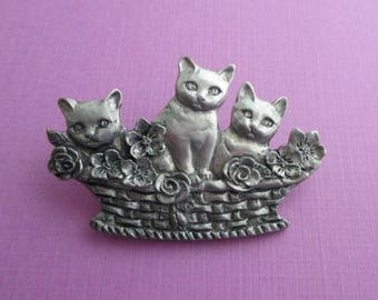 Vintage Designer Pewter Cat Pin - Signed Seagull Pewter - Kittens in a Basket